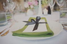 Napkin and menu with a tie idea, bridal musings, napkins, tie, green, pale pink, grey, decorations, photography