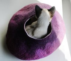 Warm Purple Bubble - Hand Felted Wool Cat Bed / Vessel - Crisp Contemporary Design - READY TO SHIP. $59.00, via Etsy.