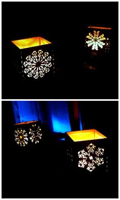 Christmas Lamps with Laser-Cut Snowflake Panels
