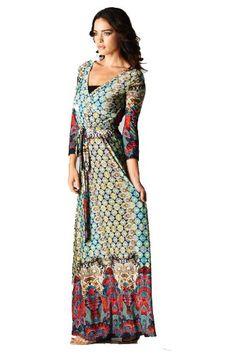 On Trend Paris Dress Bohemian 3/4 Sleeve Long Maxi Dress