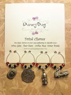 Firefighter wine charms