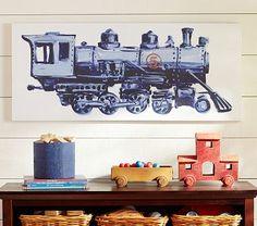 Steam Engine Canvas #PotteryBarnKids engin canva, steam engin, toddler room, barn kid, train theme, kid room, pottery barn, boy room, canvases