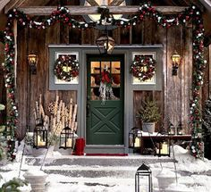 Ski Lodge-Style Exterior for the Holidays | via Orphic Pixel | House & Home