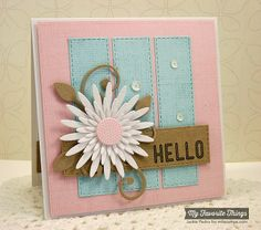 Linen Background, Sea Life, Gerbera Daisy Die-namics, Horizontal Stitched Strips Die-namics, Leaf-Filled Flourish Die-namics, Vertical Stitched Strips Die-namics - Jackie Pedro #mftstamps