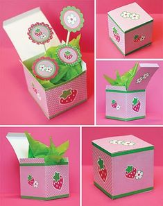 free favor box template for pink and green strawberry party. (sweetlysweet.b;ogspot.com)