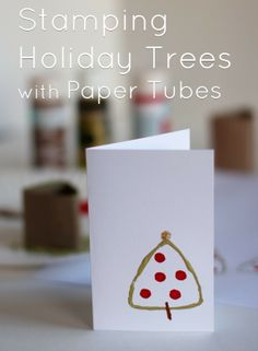 Stamping Holiday Trees with Paper Tubes @makeandtakes.com