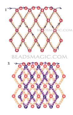 Free pattern for necklace Lia - 2----------------------------U need: pearl beads 2-3 mm seed beads 11/0 This necklace made by joining two beaded nets (net into net)