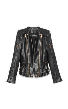 Leather Biker Jacket by Balmain