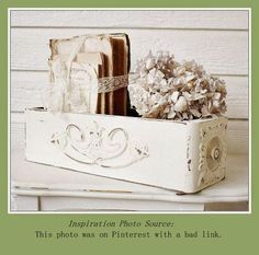 Bundled books and hydrangea in old sewing machine drawer.  Vintage Show-off - Free Booth Decor - Dried Hydrangea Ideas