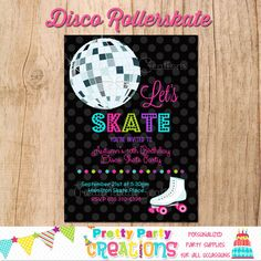 DISCO ROLLERSKATE invitation  You Print by PrettyPartyCreations