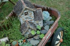 Wagon fairy garden.