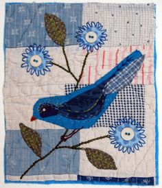 Embroidered and Appliqued Textile Picture on to Vintage Patchwork.