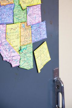 Turn an old map into magnets ... what a neat way to learn states and their locations! Great for the fridge for the boys!
