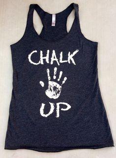 Chalk Up triblend racerback tank. Women's Workout Tank. Crossfit Tank Top. Exercise Tank Top. Running Tank. Fitness Tank Too Crossfit Tank Tops, Racerback Tank, Crossfit Tanks, Shirt