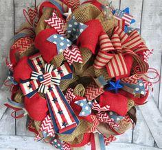 Patriotic Deco Mesh Wreath, July 4th Wreath, Memorial Day Wreath, Deco Mesh Wreath, 4th of July Deco Mesh Wreath