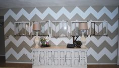 DIY How to paint a Chevron Wall Tutorial --- Classy and very pretty!
