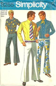 Mens' Fashion - 1970s - Hip-hugging, bell-bottom slacks.  Don't miss the cool little ascot tie-ish thingy there, either!