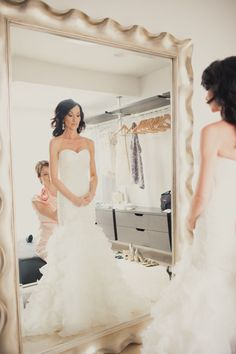 getting ready in a full length mirror #wedding