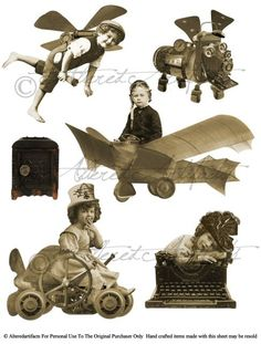 Steam Punkers Old Photo Tinprints Flying Machines by Altered Artifacts
