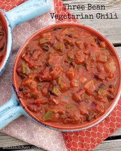 30 Minute Three Bean Vegetarian Chili from alidaskitchen.com