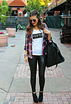 Leather leggings, I think the shirt is dumb but love the idea of the leather skinny pants and a flannel