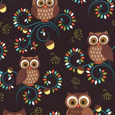 NORWEGIAN WOODS Happy Hooters  Owls Forest by spiceberrycottage, $9.00