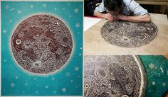After months of work Tugboat Printshop just finished printing their amazing 'THE MOON' woodblock print. See more at the link:  http://www.thisiscolossal.com/2013/06/tugboat-printshop-carves-and-prints-the-moon