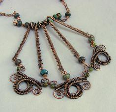 Copper Jewelry - Copper Necklace - Copper Wire Necklace - Wire Statement Necklace with Green Aqua Rhodonite Stones - Wire Jewelry