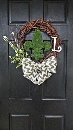 back doors, fleur de lis wreath, chevron bow, wreath for front door, front doors, front door decor summer, burlap bows, spring wreaths, summer wreath