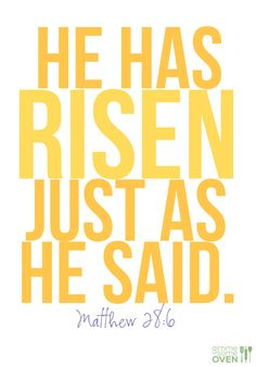 """This on one side, floral in middle, then the other yellow graphic that says, """"He is Risen""""..."""