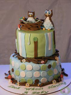 Owl Baby Shower Cake!