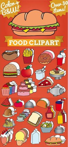 Food clip art.      It has space to write inside the images. Create teaching resources!