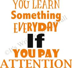 You Learn something everyday if you pay attention    www.itswrittenonthewall.etsy.com subway art  classroom, teacher, school, inspirational