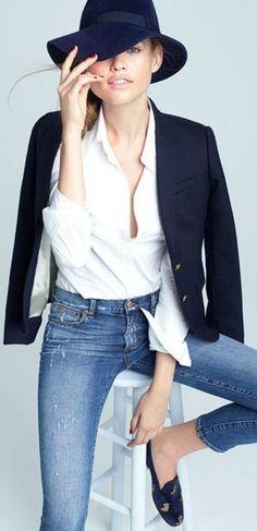Classic white dress shirt, blazer, jeans