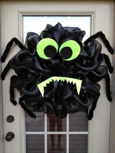 Halloween door Spider Deco Mesh...So cute!