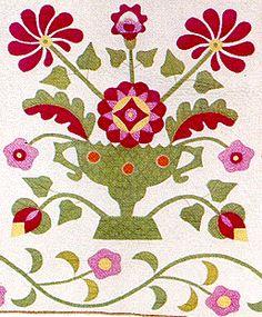 Harrison Rose Urn Patterned Quilt Detail