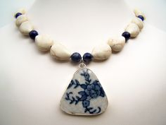 Broken China Jewelry - Blue China Pattern Pottery Shard Necklace - Lapis - White Porcelain Pendant - Blue & White Beaded Necklace. $28.00, via Etsy. love it! #ecrafty