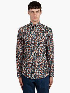 Jil Sander Men's Cube Print Cotton Baia Shirt