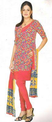 Red Printed Salwar Kameez - Short Salwar Kameez - Indian Fashion 2010
