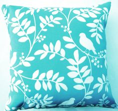 Turquoise Throw Pillow - Indoor Outdoor Tiffany Blue Birds Cushion Cover - 16 x 16