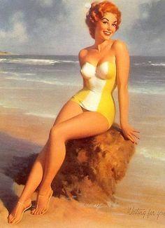 La playa   Bill Medcalf. Pin-Up girls   American ladies #Pin-Ups #Vintage #Posters #deFharo #USA #Girls #Retro #redheads