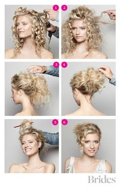 DIY Wedding Hairstyle: A Romantic Updo Diy Hairstyles, Prom Hairstyles, Bridal Hair, Girl Hairstyles, Messy Buns, Beauti, Wedding Hairstyles, Diy Wedding, Curly Hair