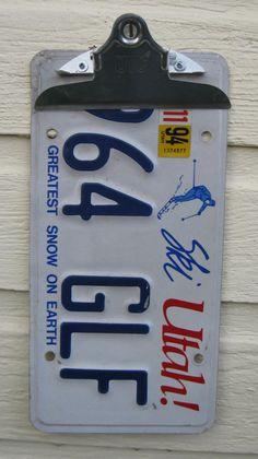 Recycled Utah State License Plate Clip Board - Ski. $15.00, via Etsy.