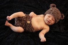 Fuzzy Bear Baby Hat and Diaper Cover