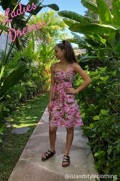 Ladies Pink Flamingo Tube Dress. Beautiful dress for for Luau, Cruise, Beach Party or Casual wear #luaudress #partydress #cruisedress #hawaiiandress #floraldress #islanddress #flamingodress #flamingoparty #tubedress #springbreak #cruisewear #cruise #springbreak #honeymoon #vacation
