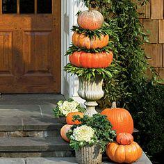 50 Fabulous Fall Decorating Ideas   Pumpkin Topiary   SouthernLiving.com