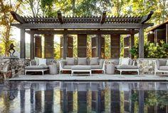 architect, privacy screens, pergolas, stone walls, pool houses