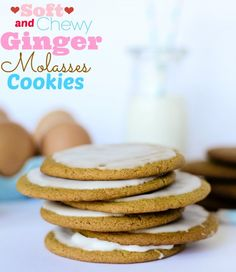 Soft and Chewy Ginger Molasses Cookies -- one of my favorites! I am always asked what kind they are because everyone loves them but it's hard to put your finger on why they're so good! Glaze sets up nice and hard so they are easy to transport or stack on a platter. Perfect Holiday cookie!