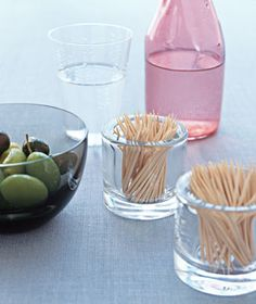 Put empty votive-candle holders to work: Fill them with toothpicks and offer along with appetizers. Or put them on a desk or inside your junk drawer, and give small items like paper clips or bobby pins a place to call home.