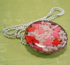 Candy in a bottle cap necklace!